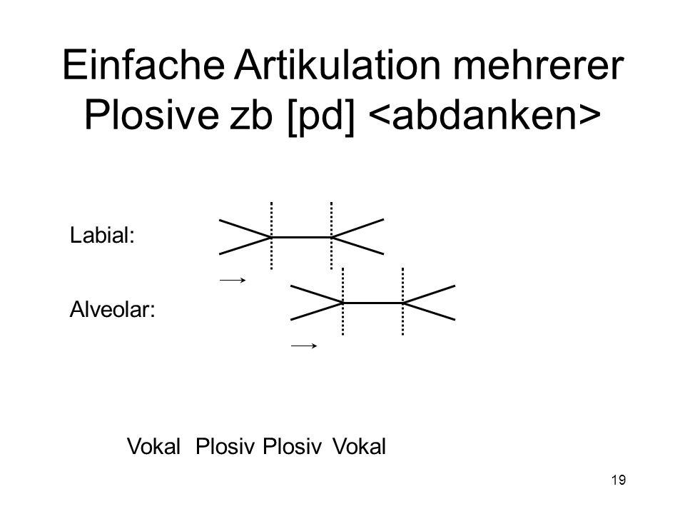 Einfache Artikulation mehrerer Plosive zb [pd] <abdanken>
